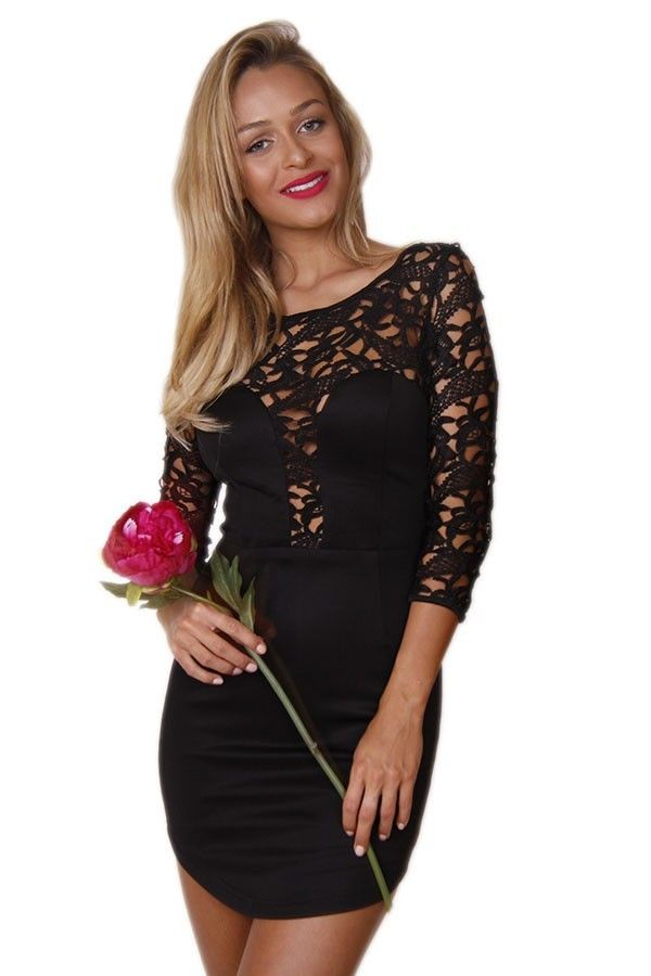 109e009e252d51 Black Lace Top Long Sleeve Mini Dress. The most amazing LBD! Features sheer  lace through the top and arms. Bodice style front Sheer back.