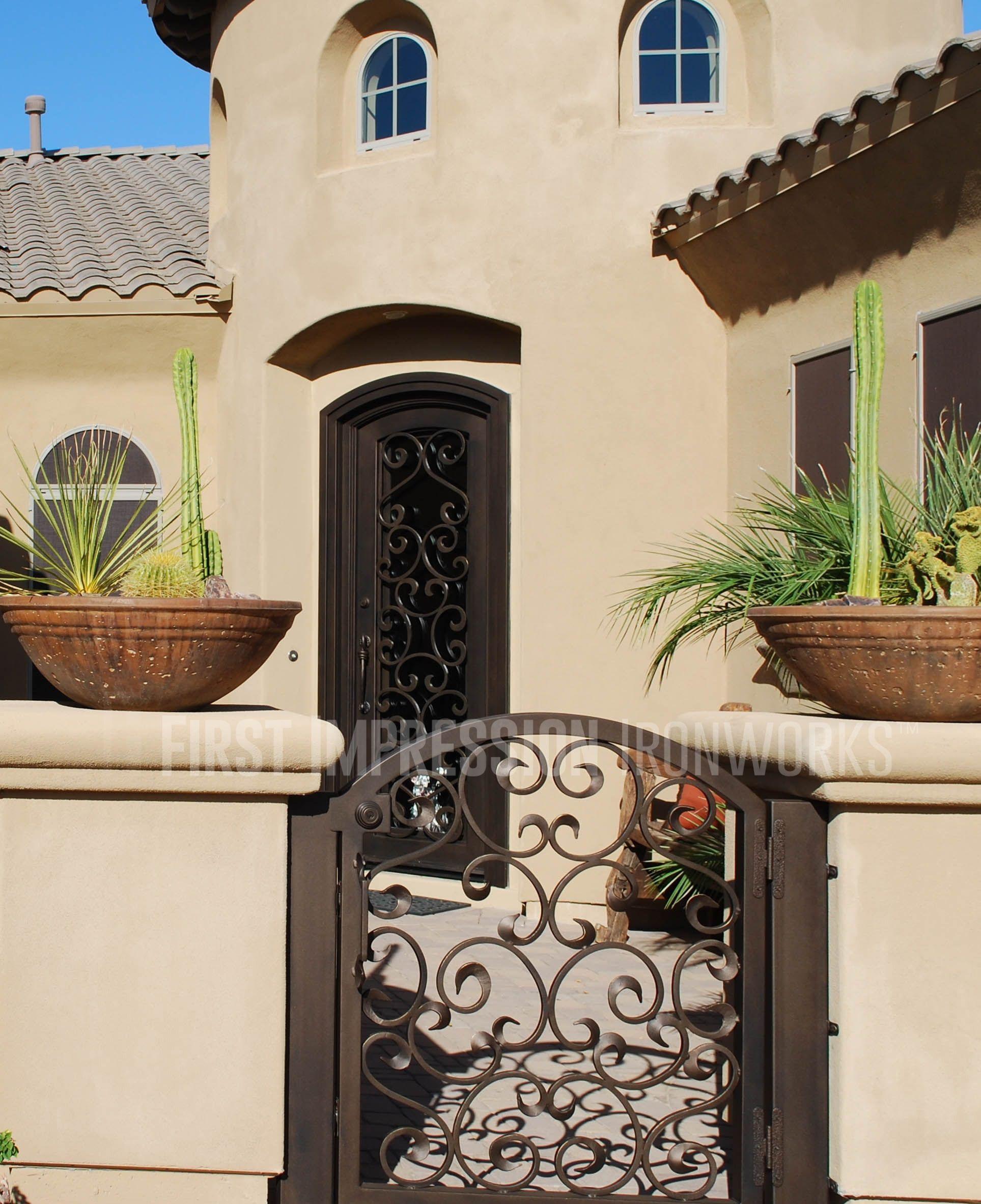 First Impression Ironworks front door u0026 matching exterior gate #ornamentaliron #frontdoor #irondoor # & First Impression Ironworks front door u0026 matching exterior gate ...