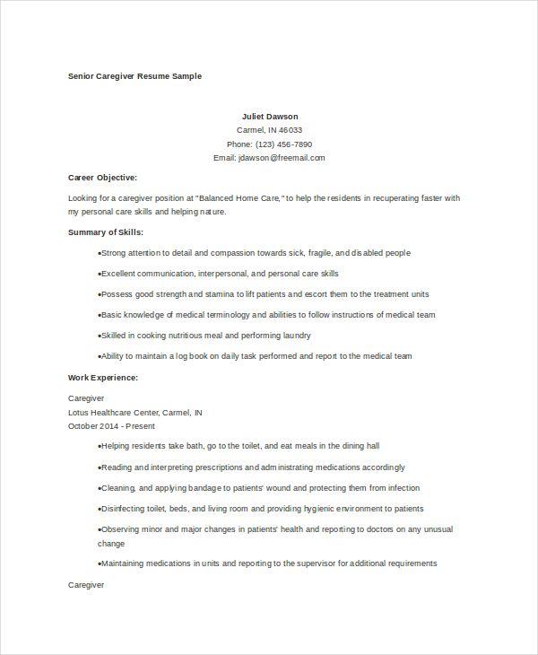 senior-caregiver-resume Resume templates Pinterest Caregiver - medical billing resume examples