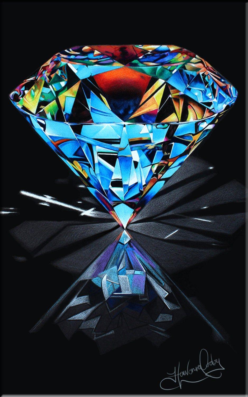 Diamond colored pencil drawing, Diamond art, Gem ...