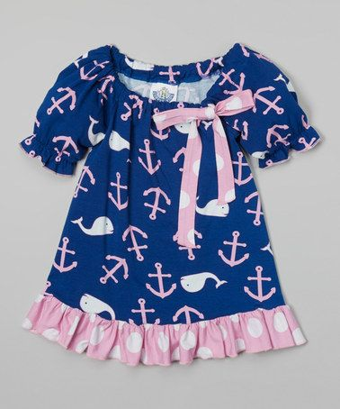 Look at this #zulilyfind! Navy Whale Peasant Tunic - Infant, Toddler & Girls by Corky's Kids #zulilyfinds
