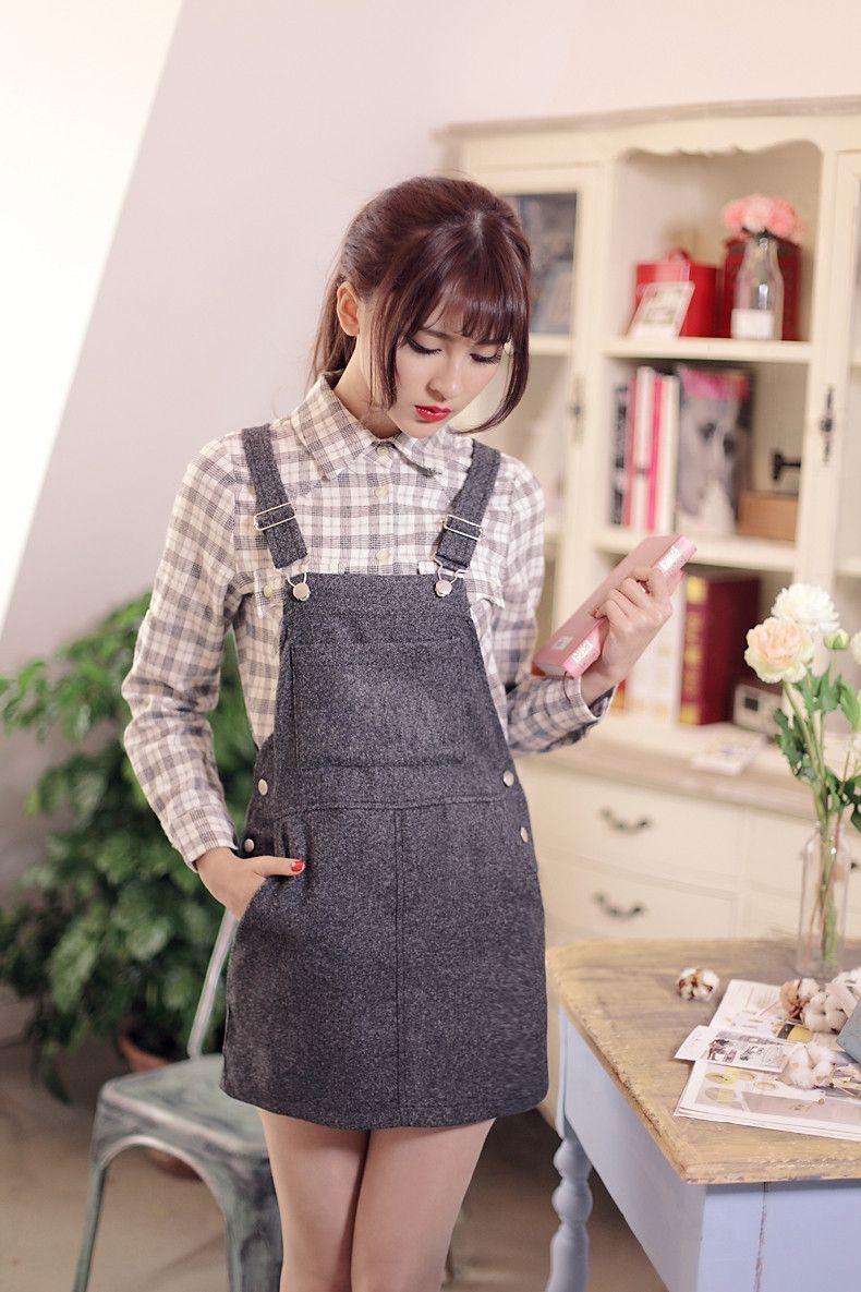 Japanese style  retro plaid loose pocket College Wind shirt  Moda