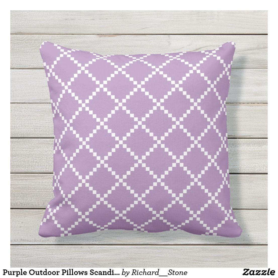 Purple Outdoor Pillows Scandinavian Pattern Zazzle Com