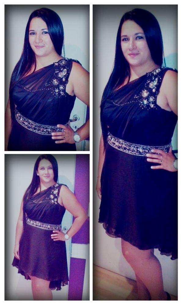 Vestido negro bordado en piedras plata. #GasaDeSeda | BORDADO 2 ...