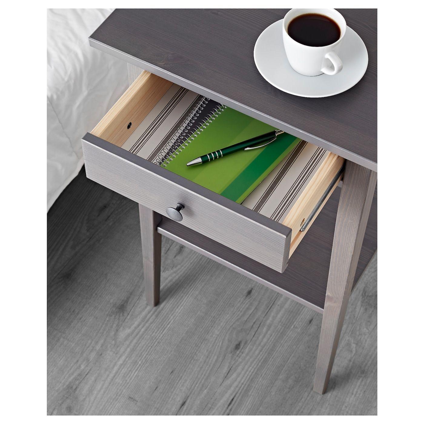 IKEA HEMNES Nightstand dark gray stained Hemnes
