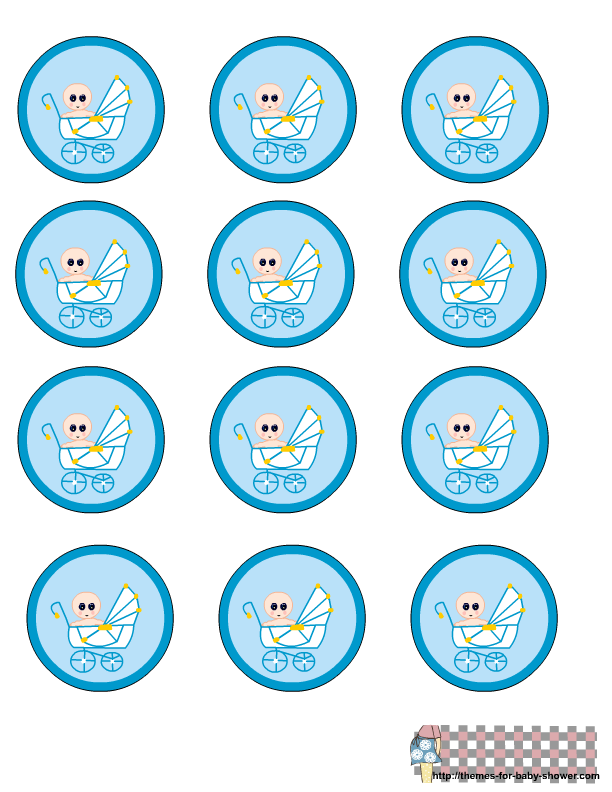 Free printable blue baby shower round labels baby boy for Baby shower decoration templates