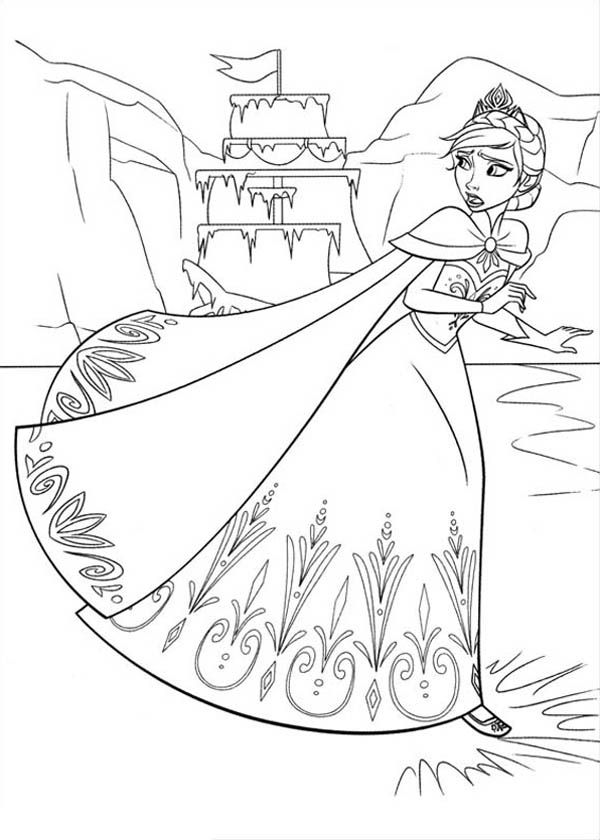 Elsa Running On The Frozen Lake Coloring Page Coloring Page Elsa Coloring Pages Disney Coloring Pages Frozen Coloring Pages