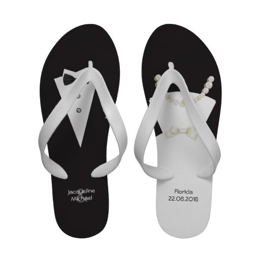 110afc3bf99b bride and groom black and white wedding flip flops