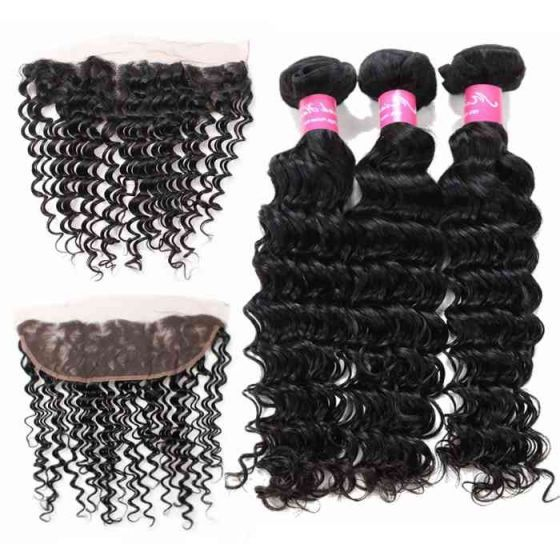 10a Brazilian Hair 3 Bundles Deep Wave With 13x4 Frontal Virgin Remy