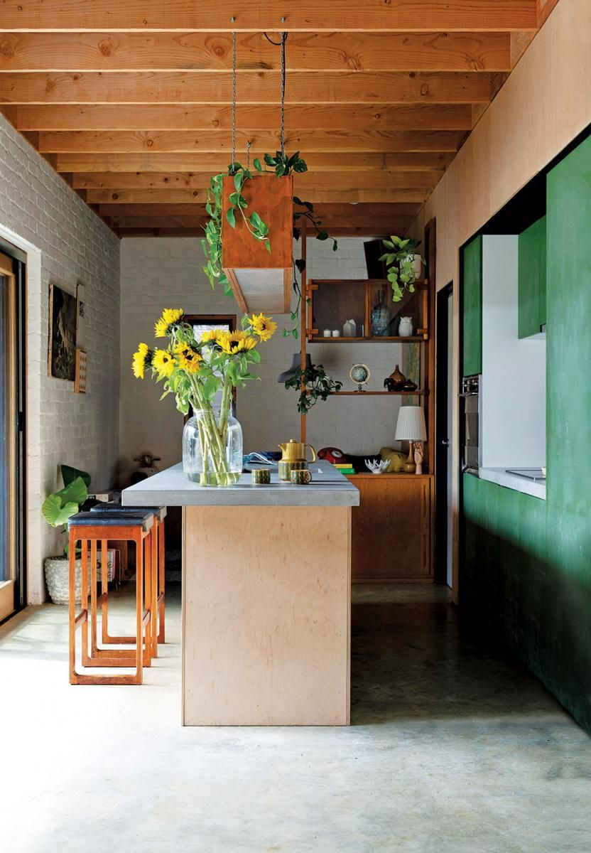 Compact Eco Friendly Living In Perth Australia House And Leisure Industrial Style Kitchen Timber Ceiling Painted Brick Walls