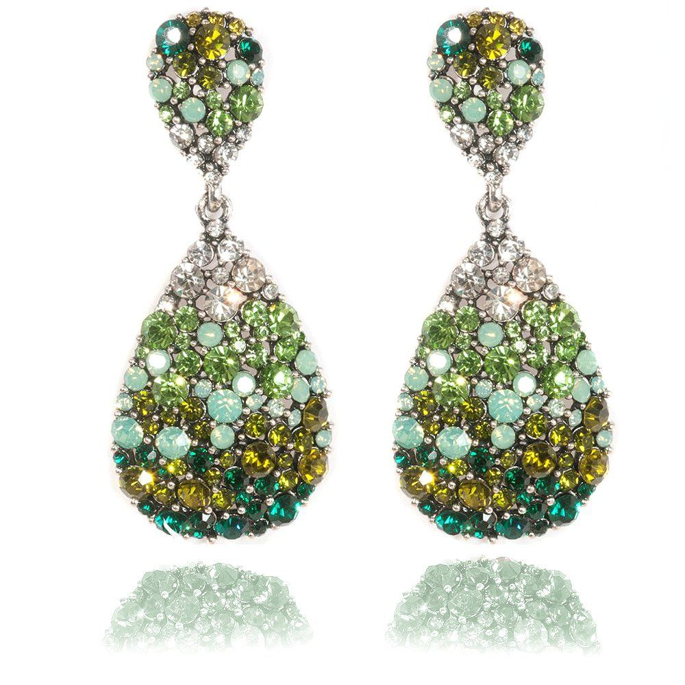 product deco faux shop earrings art emerald crystal green