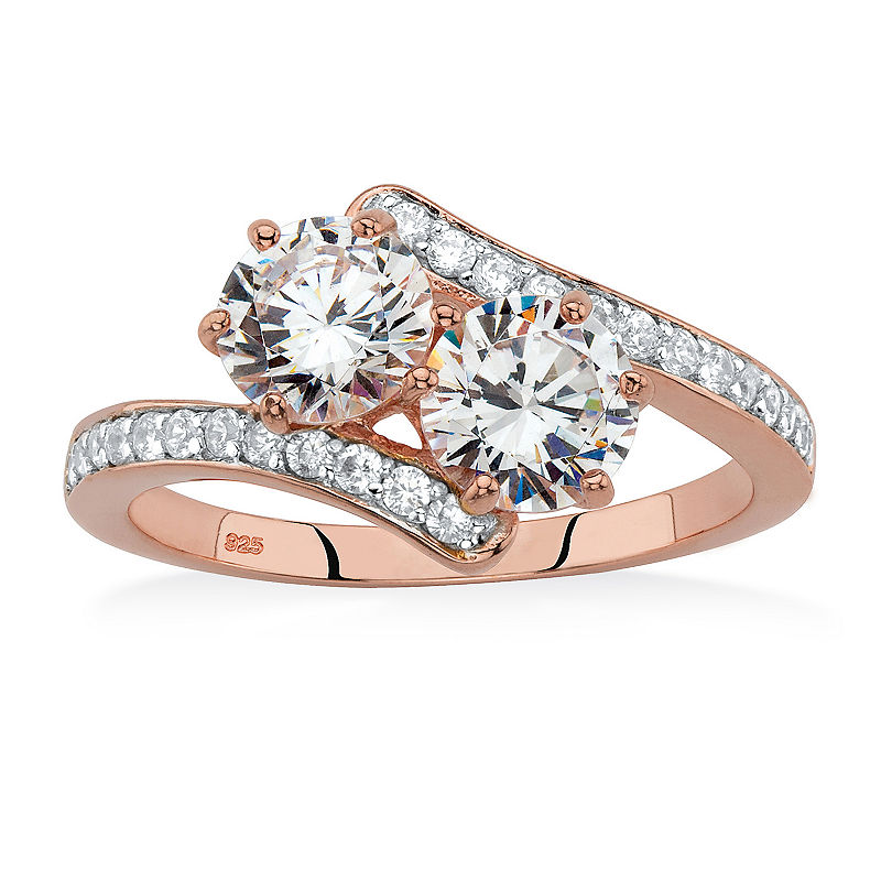 Diamonart Womens 2 1 5 Ct T W White Cubic Zirconia 18k Rose Gold Over Silver Cocktail Ring In 2019 Products Jewelry Rings Rose Gold Plates