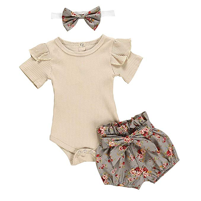Baby Girls Flare Sleeve Cotton Romper Top Clothes+Floral Shorts Set Outfit