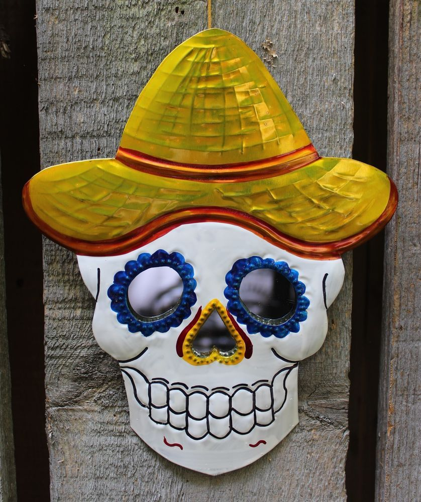 Day of the Dead Stamped Tin Sugar Skull Mirror with Yellow Hat ...
