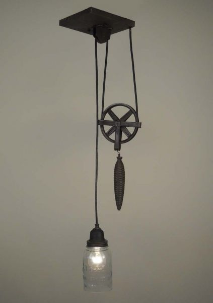 Traditional Vintage Ball Jar Pulley Lamp Lighting 325 Pulley