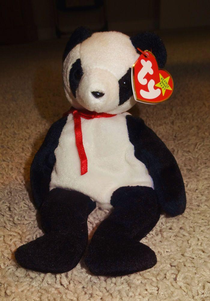 Panda Bear Ty Beanie Baby FORTUNE 1997 Tush Tag 1998