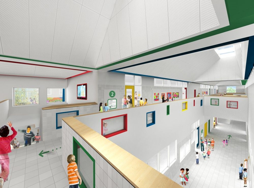 Gallery of som breaks ground on new york 39 s first net zero - Interior design for school buildings ...