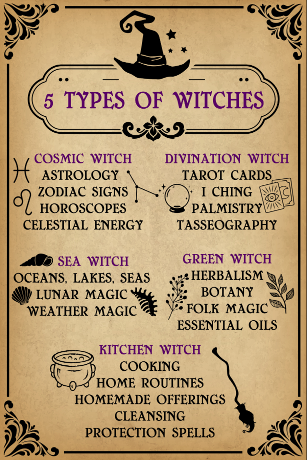 ✡️5 Types Of Witches Poster ✡️Witchcraft home decor ✡️Witch Poster