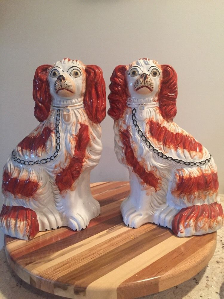 dolls house Pair Of Staffordshire Dog ornaments