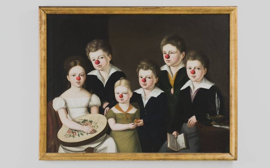 An early-19th century portrait of six children with red noses added by 70-year-old German artist Hans-Peter Feldmann