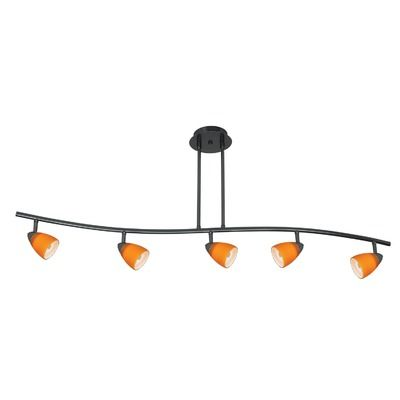 "cal lighting""serpentine five light track light with brown spot glass in dark bronze"