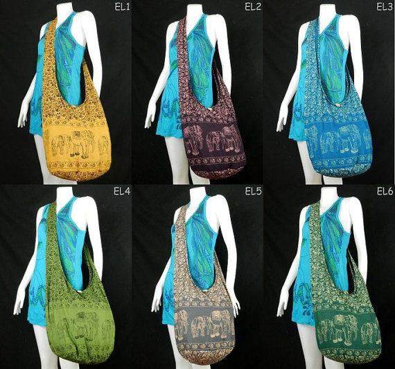 Hippie Hobo Cotton Sling Crossbody Bag Messenger Purse Elephant Fl Large More Beautiful Color To Choose From