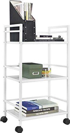 Amazon.com: Marshall 3-Shelf Metal Rolling Utility Cart, White Finish: Office Products