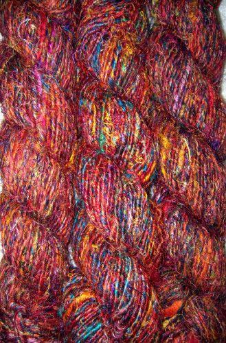 100 Grams Himalaya Recycled Red Soft Sari Silk Yarn Knitting Woven 1 Skein