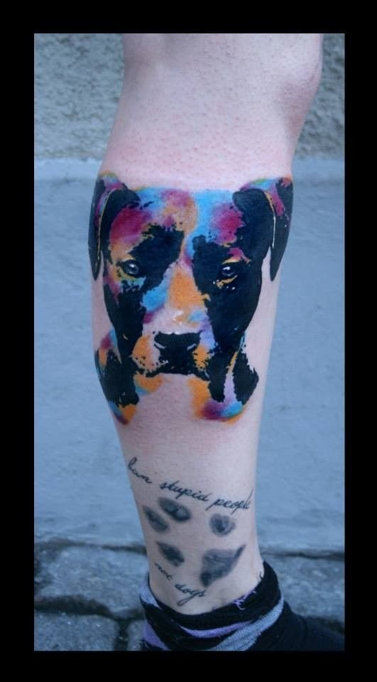 Watercolor Portrait Of A Dog And Paw Print Tattoo Tattooimages