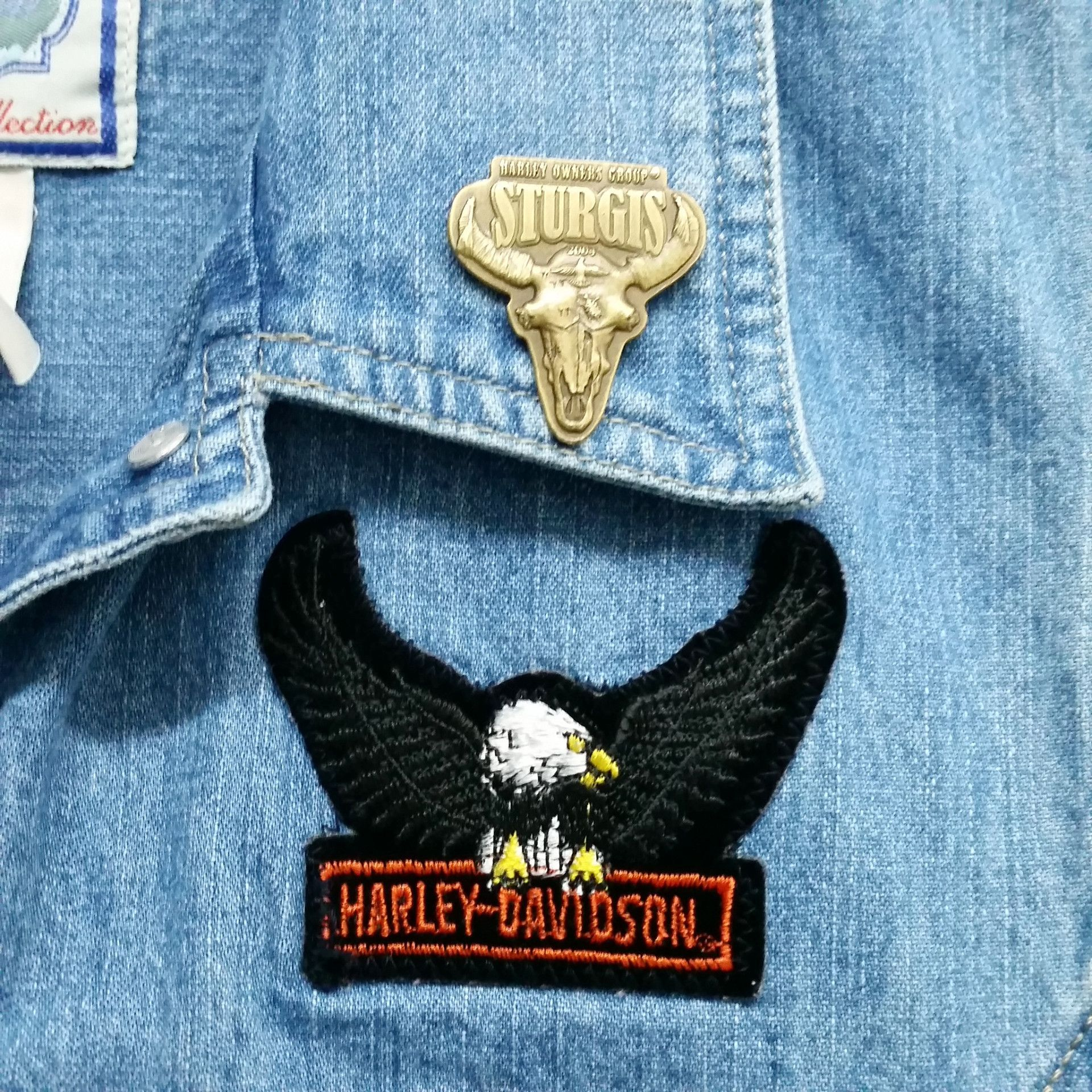 """Ladies of Harley"" Patched Denim Vest"
