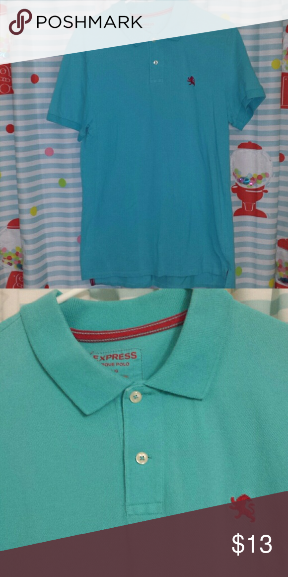 Express Pique Polo Turquoise Size Large Lion Logo Pique And Polos