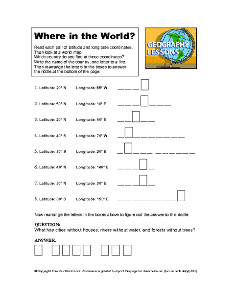 Education World: Latitude and Longitude Worksheet ...
