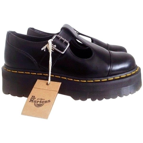 afee29a92e Pre-owned Dr. Martens Bethan Buckled Size 9 Black Platforms ($112) ❤ liked  on Polyvore featuring shoes, black, dr martens footwear, dr martens shoes,  ...