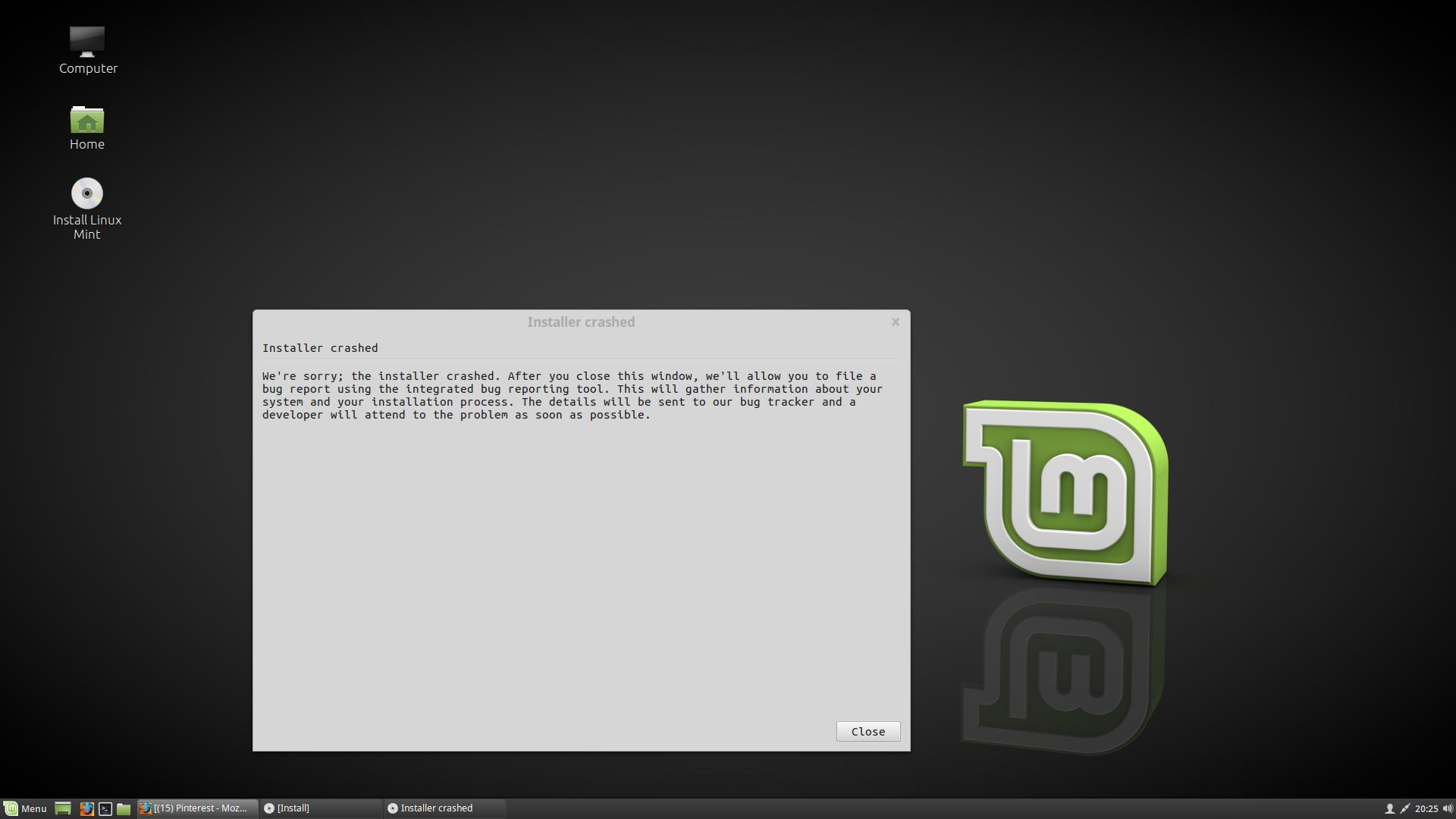 Installer Crashed Error During Linux Mint 19 04 Linux Mint Linux Informative
