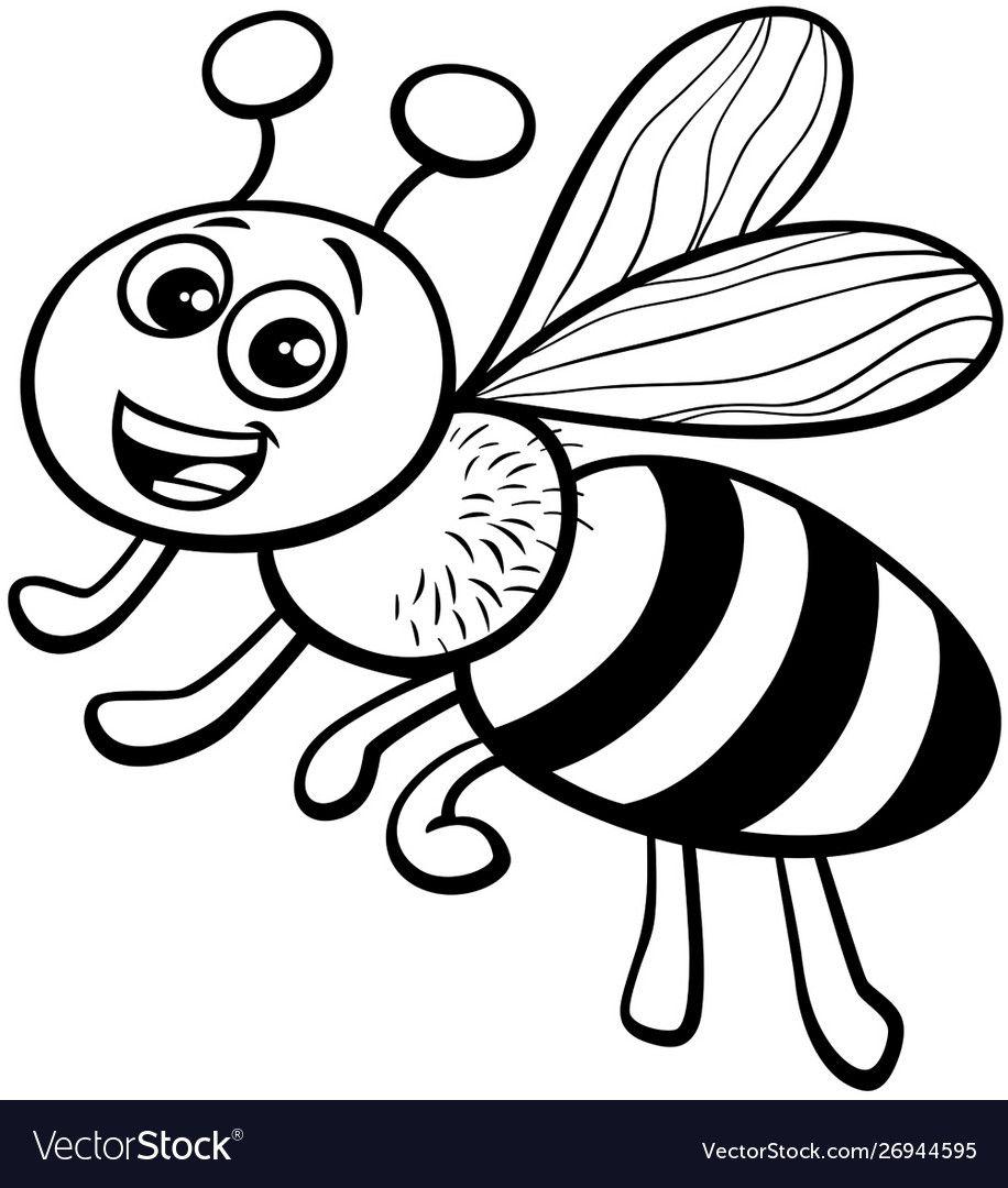 Honey Bee Cartoon Character Coloring Book Vector Image Honey Bee Cartoon Coloring Books Black And White Cartoon