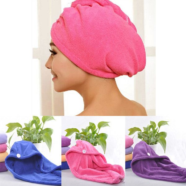 Microfiber Towel Deep Blue Quick Dry Hair Drying Turban Wrap Hat Cap Spa B KJI