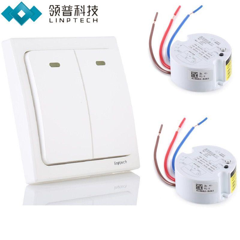 Linptech K2 Wireless Remote Control Light Switch Kit No Need