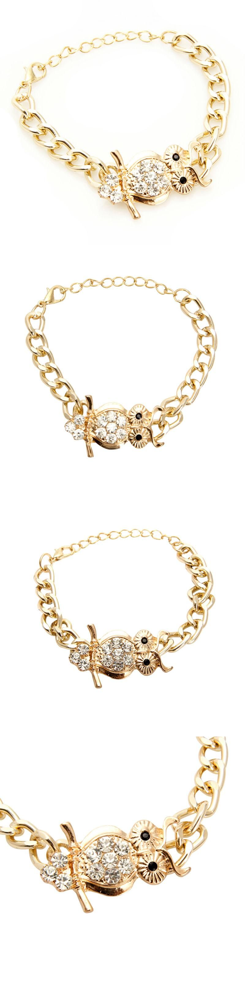 New gold color chain bracelets cubic zircon crystal owl for women