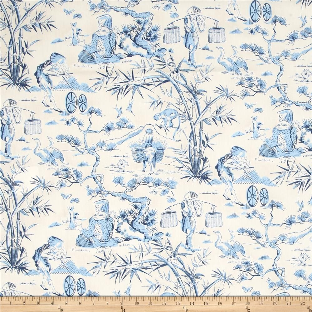 Waverly Haiku Toile Chintz Indigo from @fabricdotcom  Screen printed on lightweight cotton this fabric is very versatile and perfect for window treatments (draperies, curtains, valances, and swags), bed skirts, duvet covers, pillow shams and accent pillows. Colors include indigo, blue, white and ivory. This fabric has 9,000 double rubs.