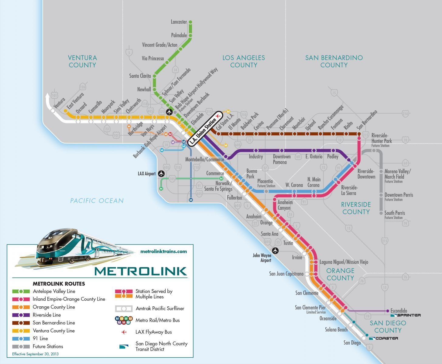metrolink map by la travel pinterest
