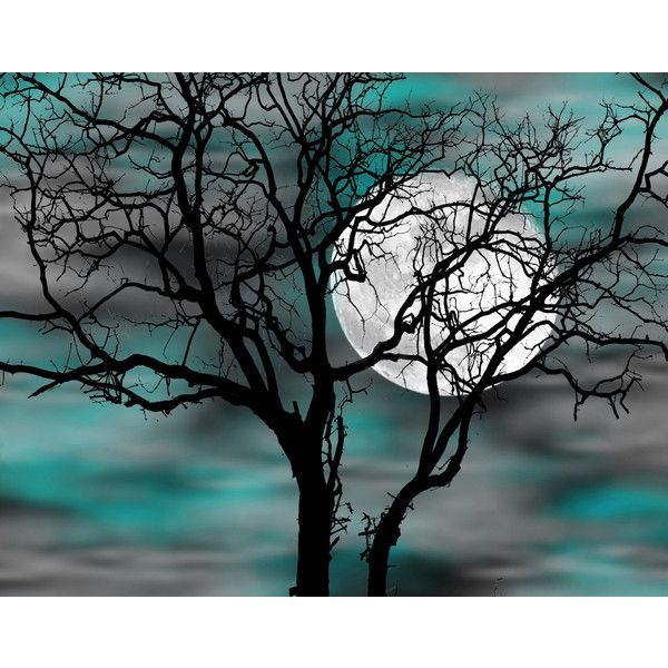 Teal Gray Wall Art Tree Moon Bedroom Decor Matted