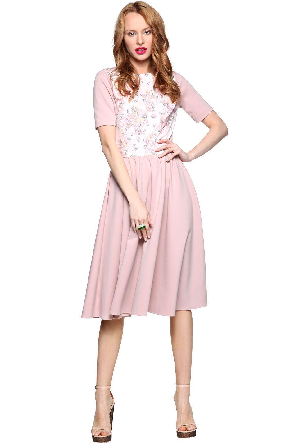 Sukienka Pudrowa Z Kwiatowym Przodem Kasia Miciak Saltandpepper Pl Dresses Graduation Dress Midi Skirt