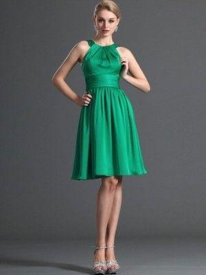 A-line Scoop Ruffles Sleeveless Knee-length Chiffon Bridesmaid Dresses