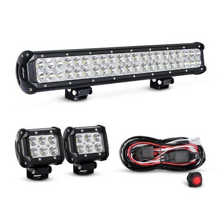 Nilight 20 Inch 126w Combo Led Work Light Bar 2pcs 4 Inch 18w Spot Spot Fog Lights Suv Boat Jeep Driving Lamp With Wiring Harness Kit Off Road Led Lights Led