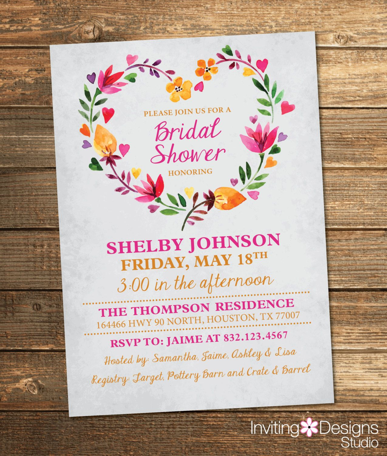 Bridal Shower Invitation, Watercolor, Floral, Spring, Summer, Pink ...
