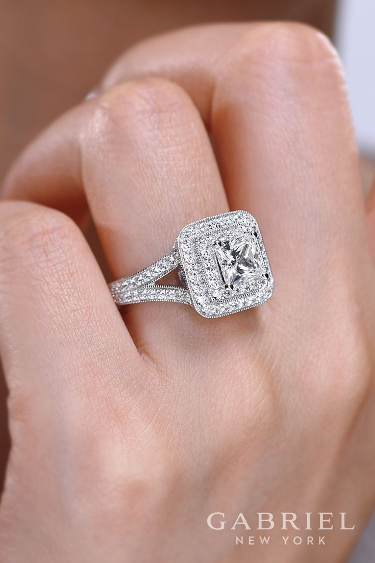 Gabriel - Vintage 14k White Gold Princess Cut Double Halo Engagement ...