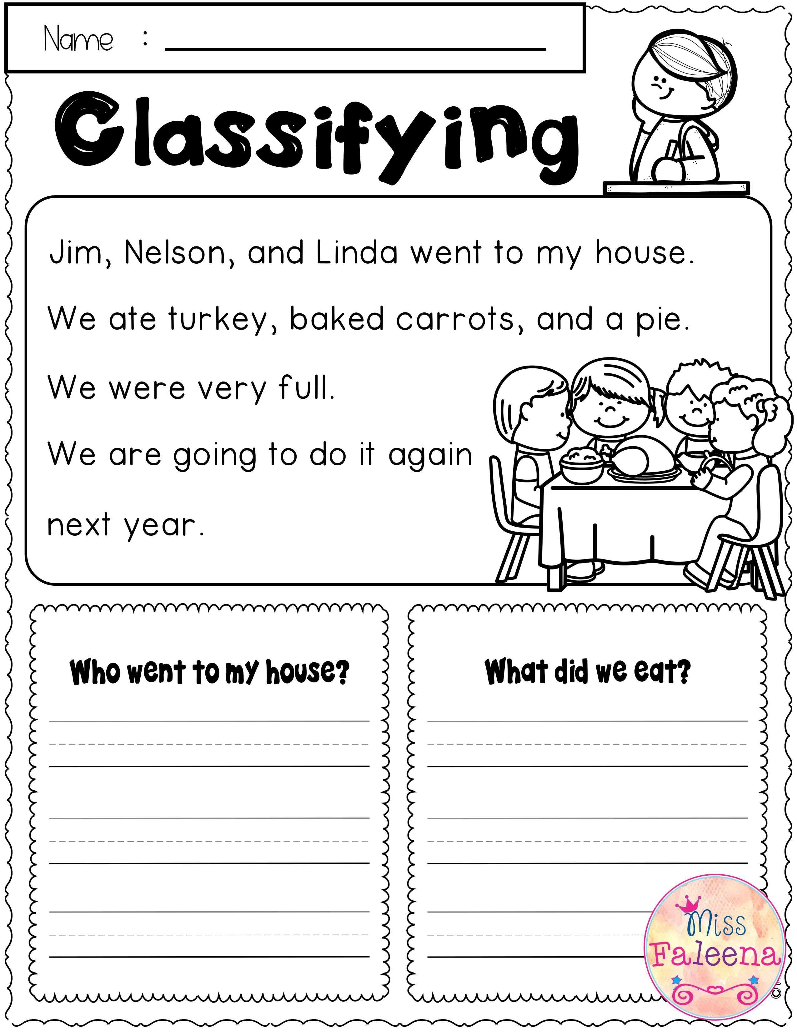 November Reading Skills Reading skills worksheets
