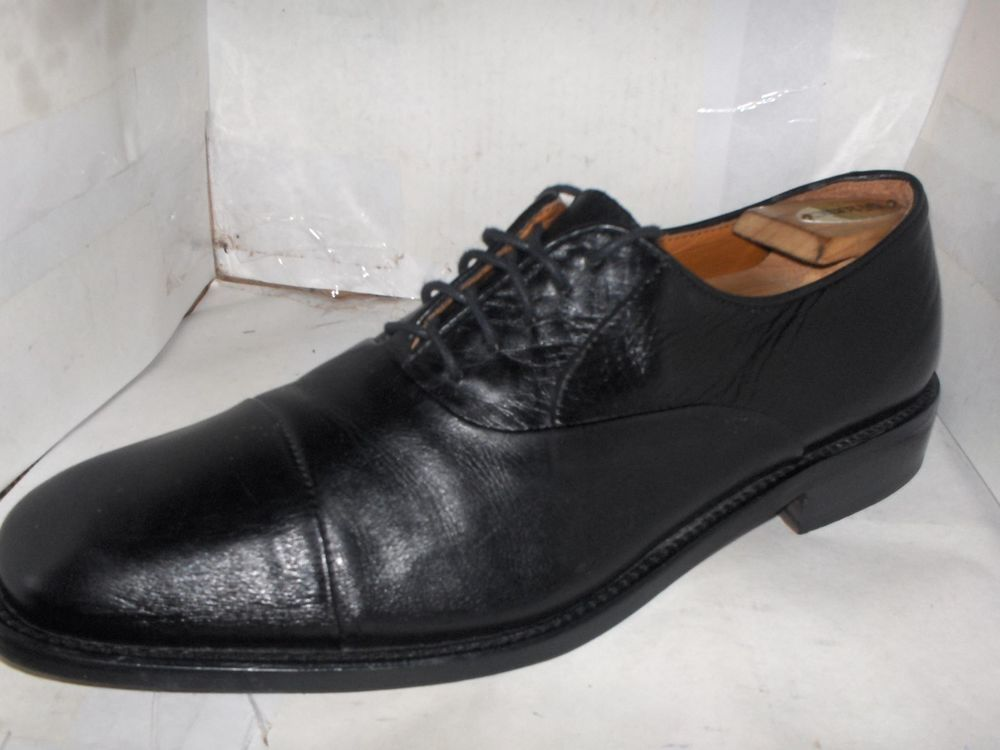 SEABAGO Men Cap Toe Oxford Dress Shoes Size 9.5M Black Leather