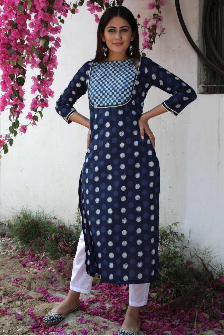 Polka dot checkered yoke straight kurti with pants indian ethnic