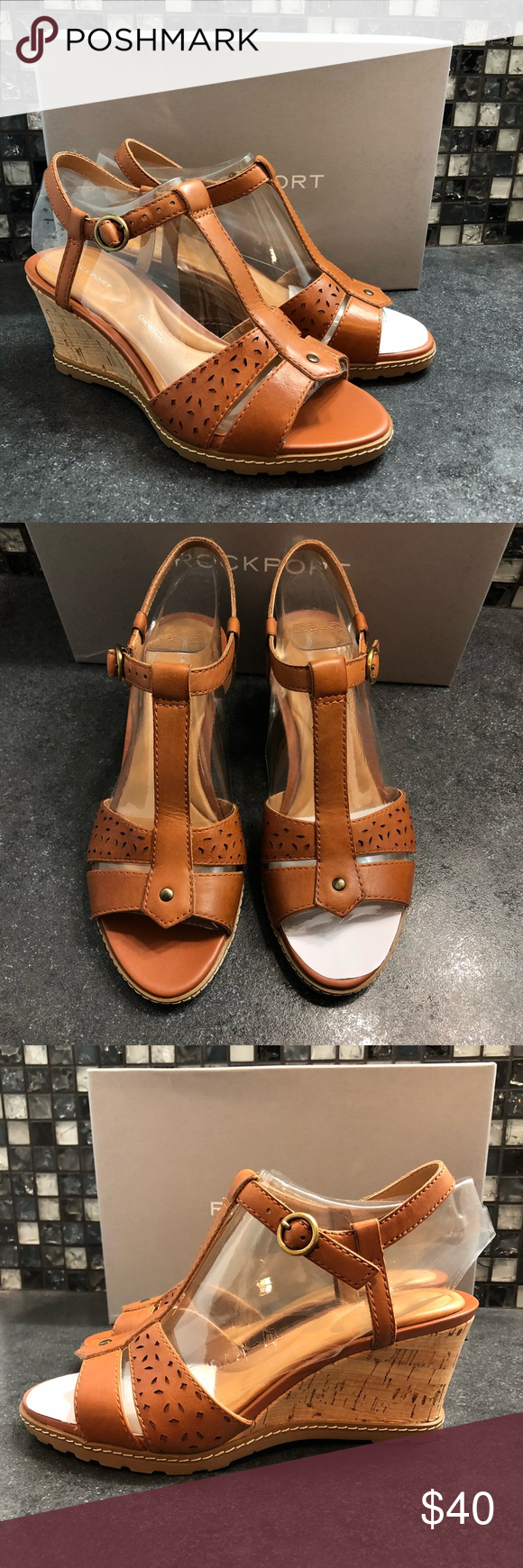 Rockport garden court perf t strap wedges NWT | Rockport shoes ...